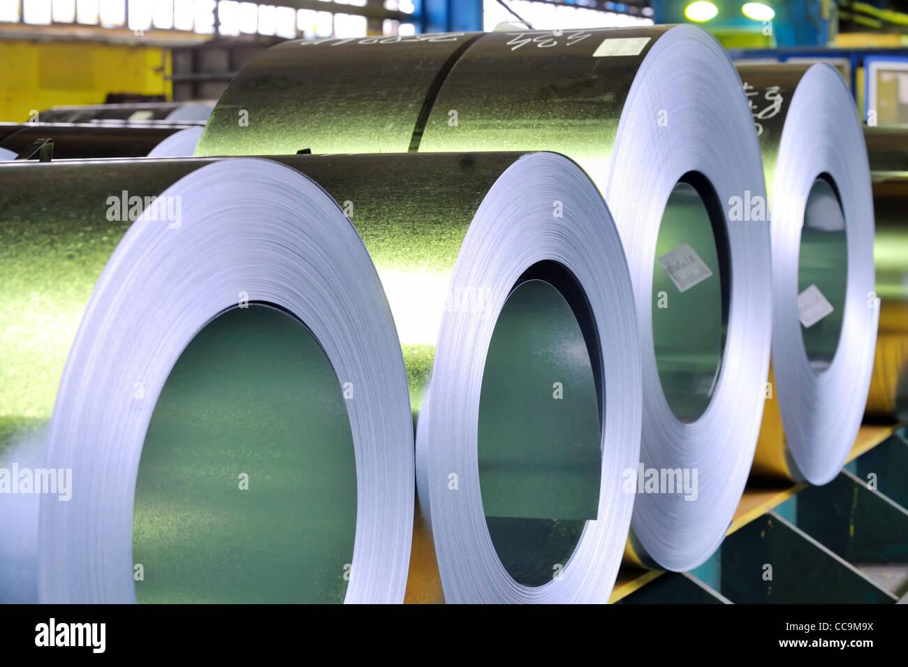 rolls of zinc steel sheet Stock Photo