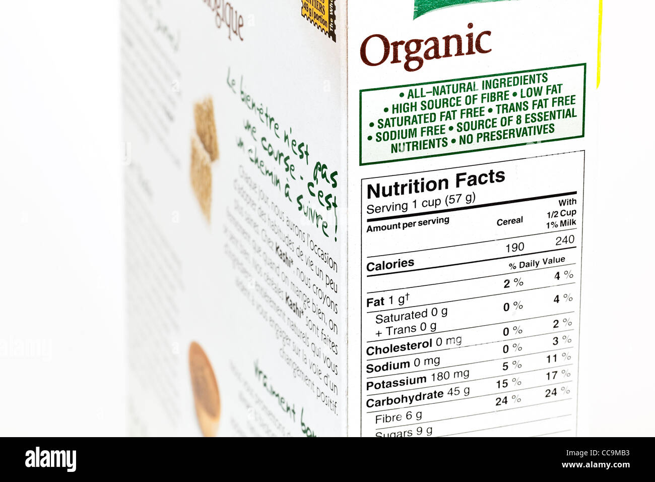 Organic cereal box, nutrition label, close up. - Stock Image