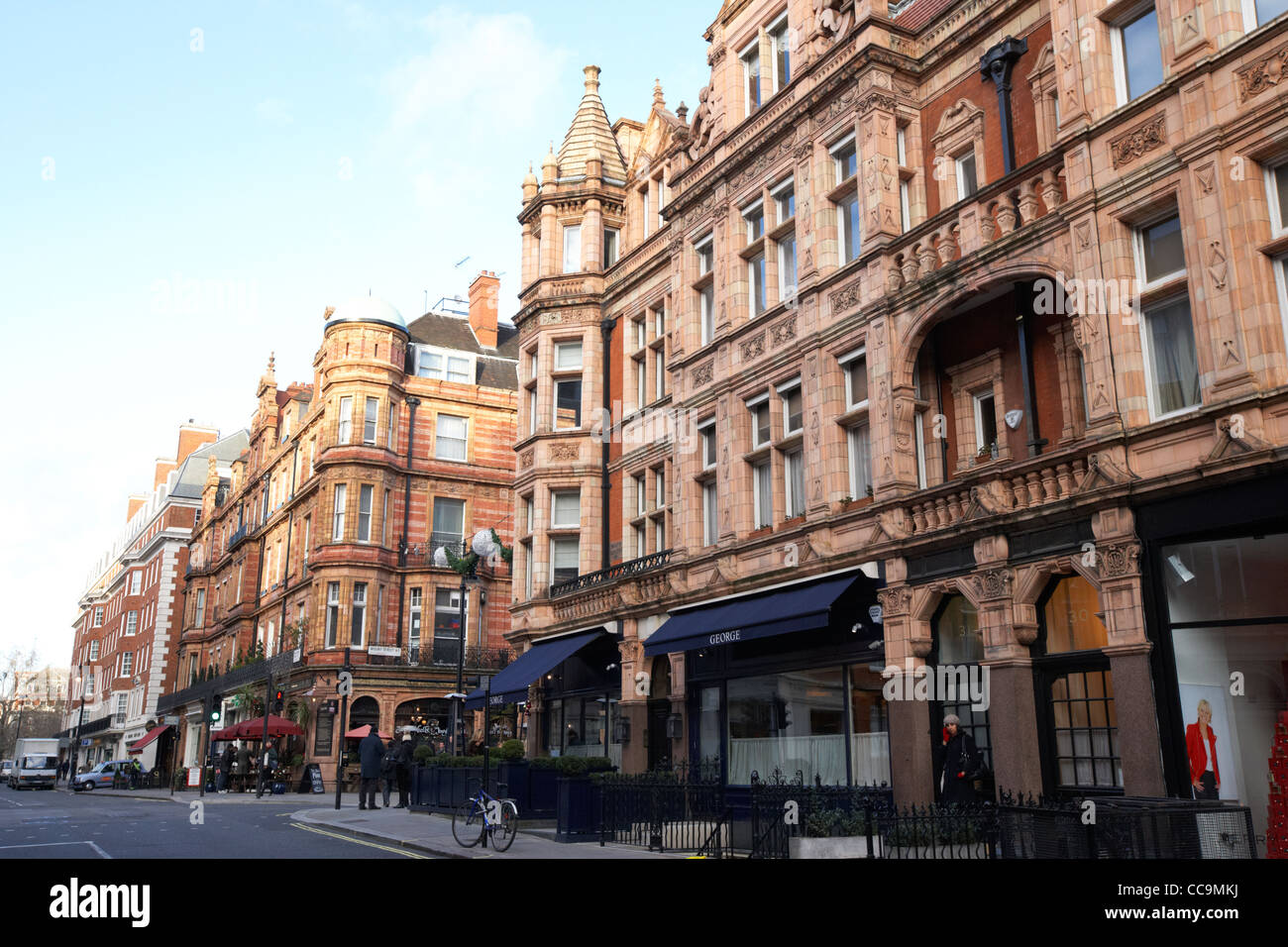 exclusive shops and restaurants and george private members club on south audley street mayfair London England UK - Stock Image