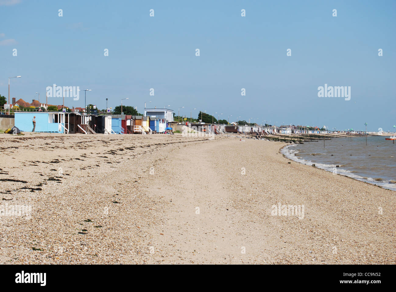 Beach Huts on the Beach at Thorpe Bay, Southend-on-Sea, Essex, England, UK Stock Photo