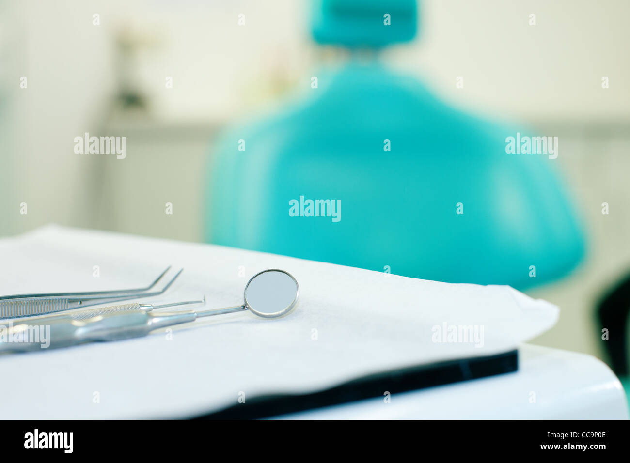 Still life of various tools of a dentist waiting to be used in the surgery - Stock Image