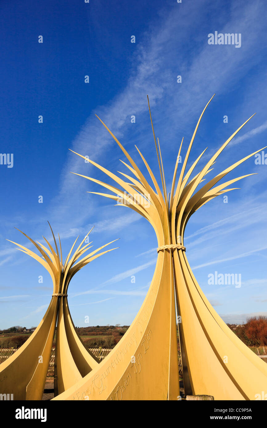 Two of three large Marram sculpture at Newborough Warren National Nature Reserve Isle of Anglesey North Wales UK - Stock Image