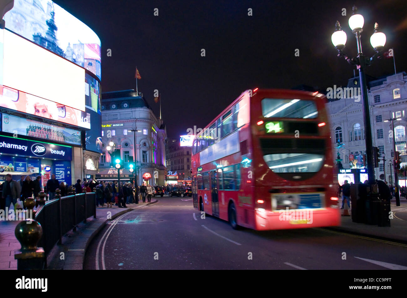 Picadilly circus by night - London (UK) - Stock Image