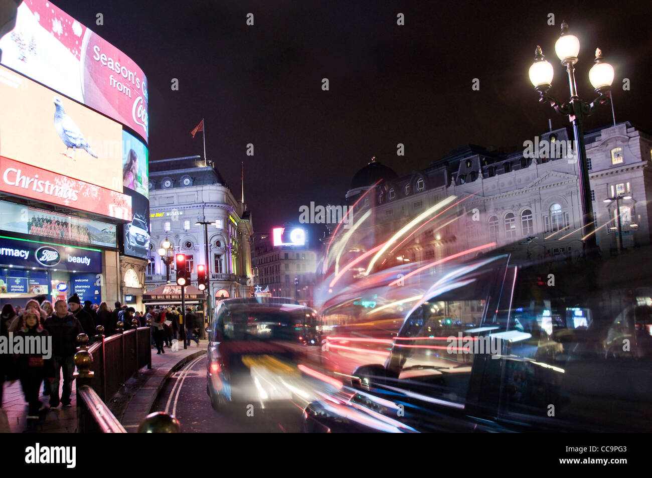 Picadilly circus at night - London (UK) - Stock Image