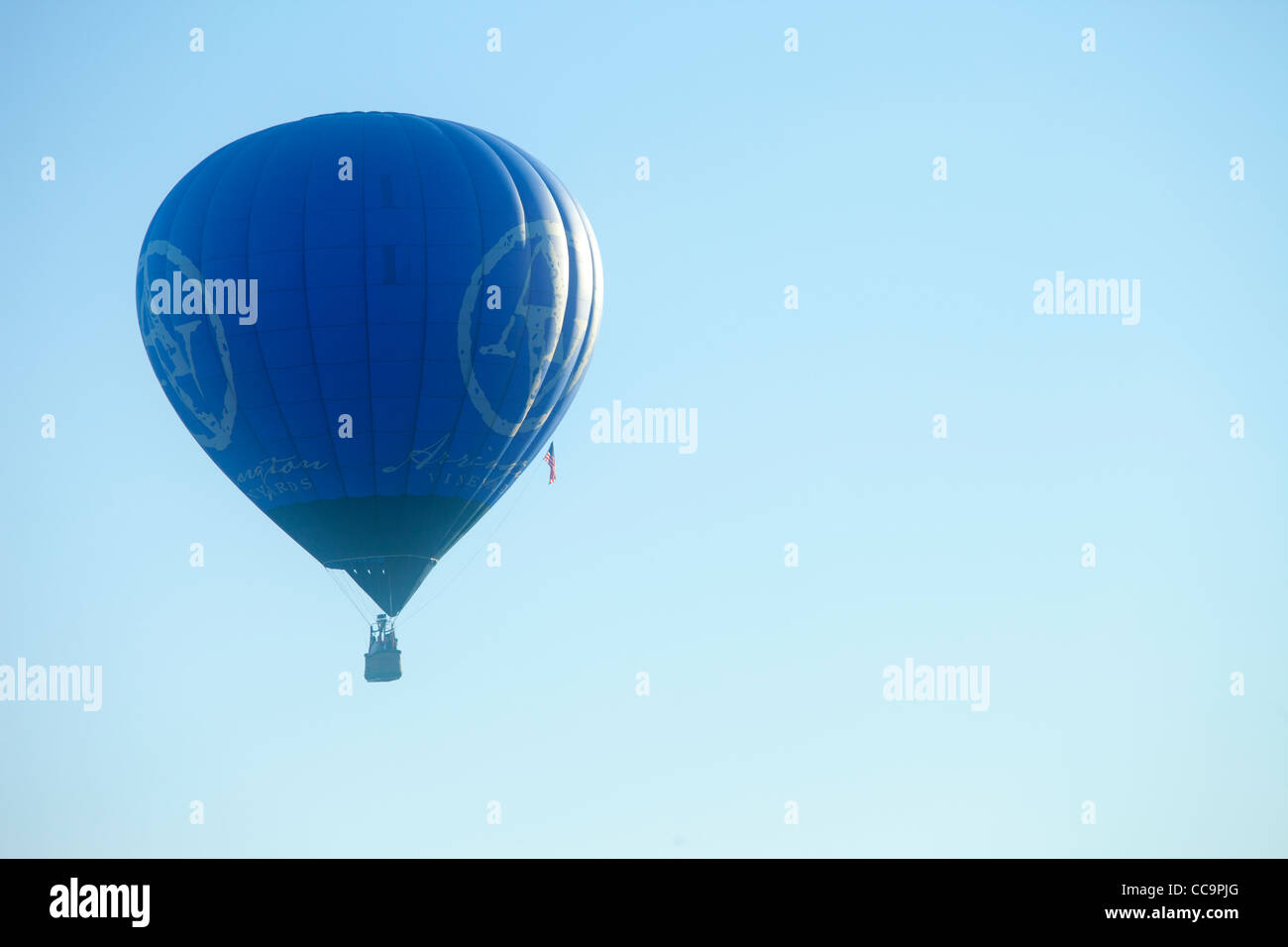 Hot air balloon and a blue sky, St.  Louis, Missouri - Stock Image
