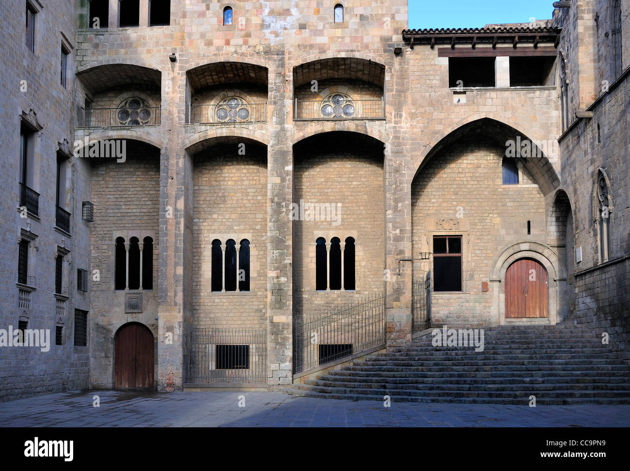 Barcelona, Spain. Placa del Rei in Barri Gotic - Stock Image