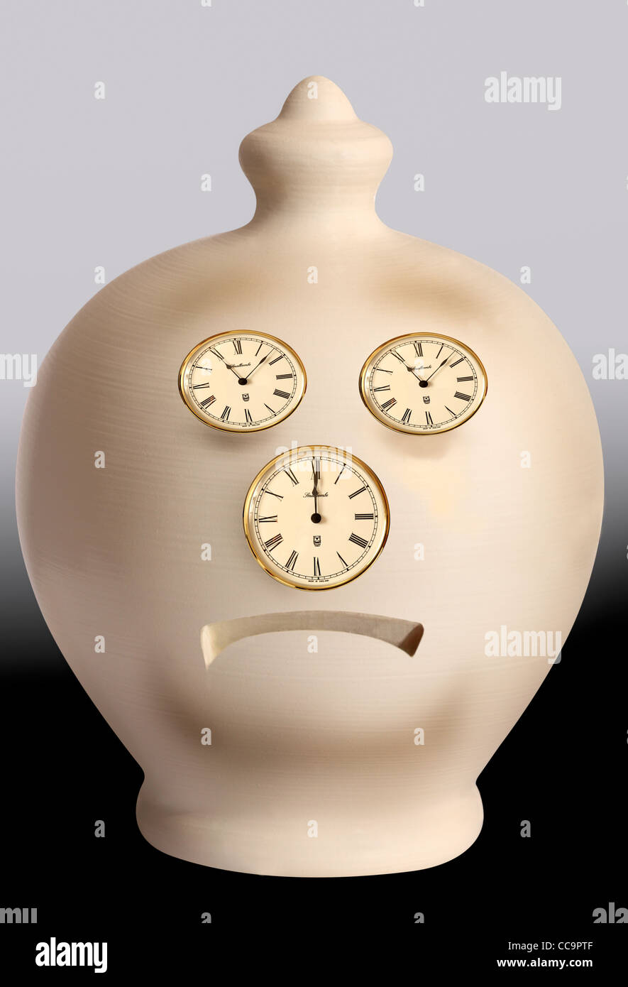 Intended as a slightly humorus look at poor savings rates, this image shows a sad face made from clock faces to - Stock Image