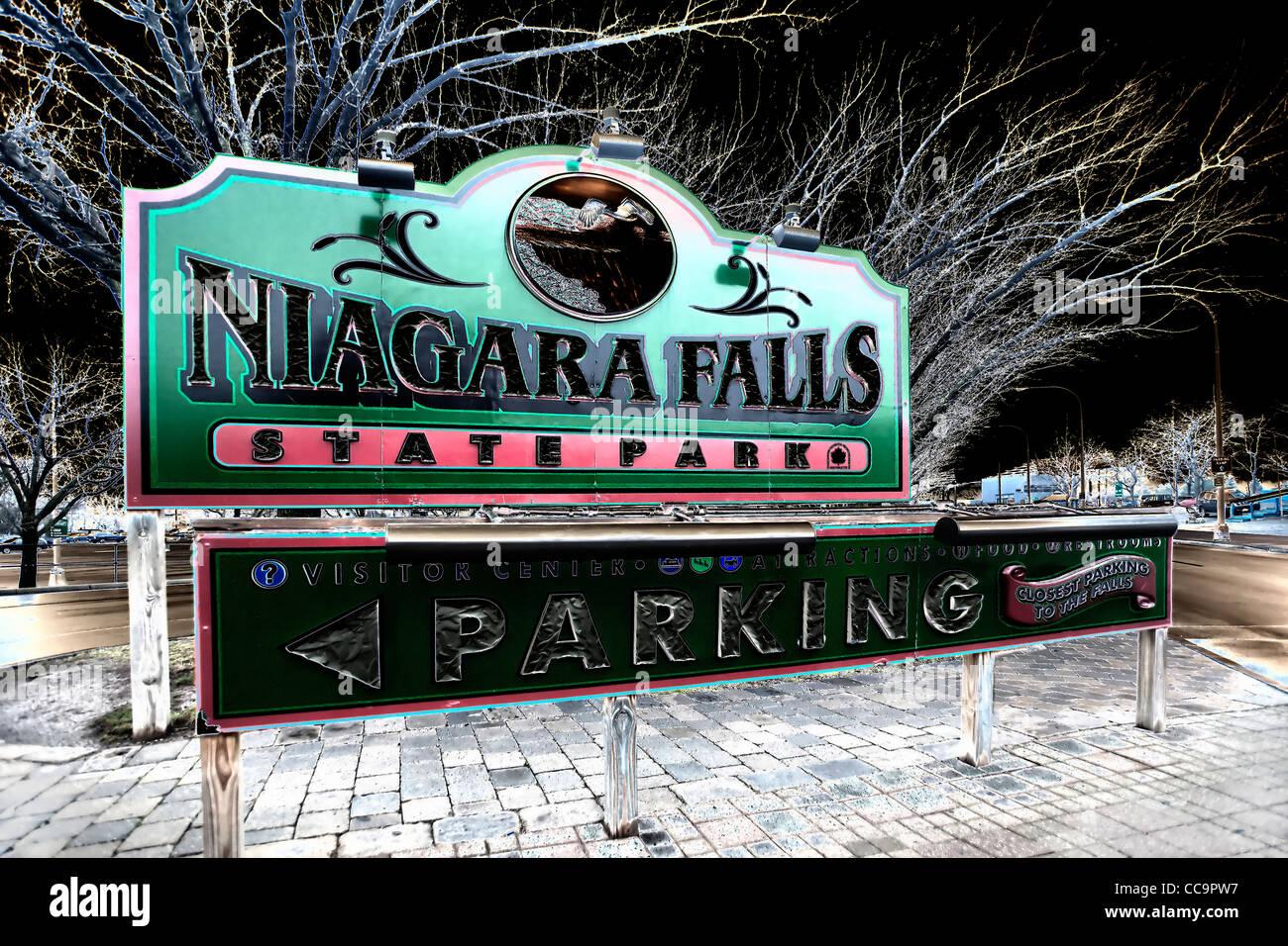 Niagara Falls sign, Buffalo, New York - Stock Image