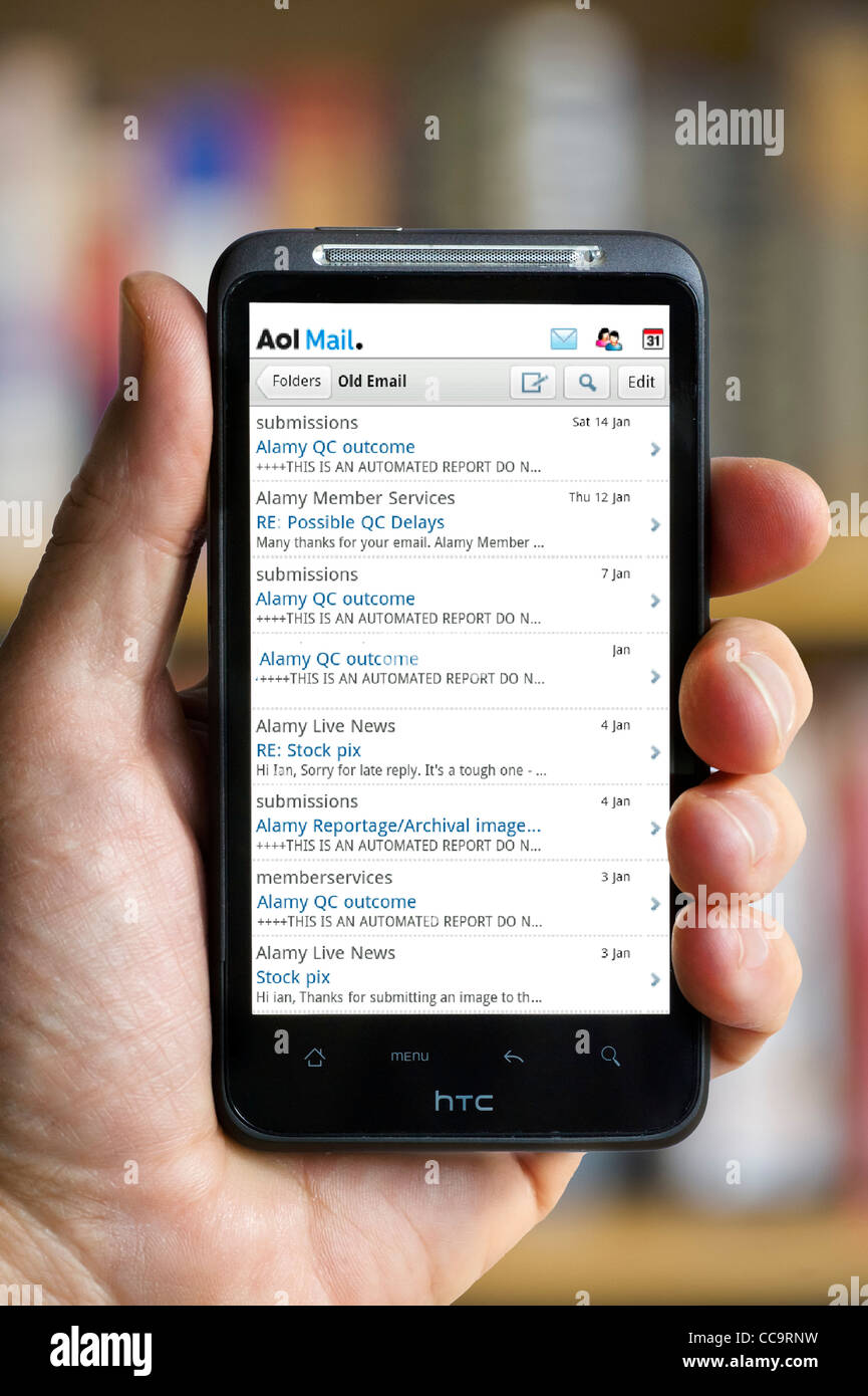AOL Mail inbox on an HTC smartphone - Stock Image