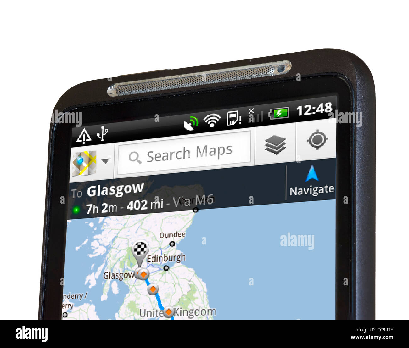 Google Maps satellite navigation on an HTC Desire HD Android smartphone - Stock Image