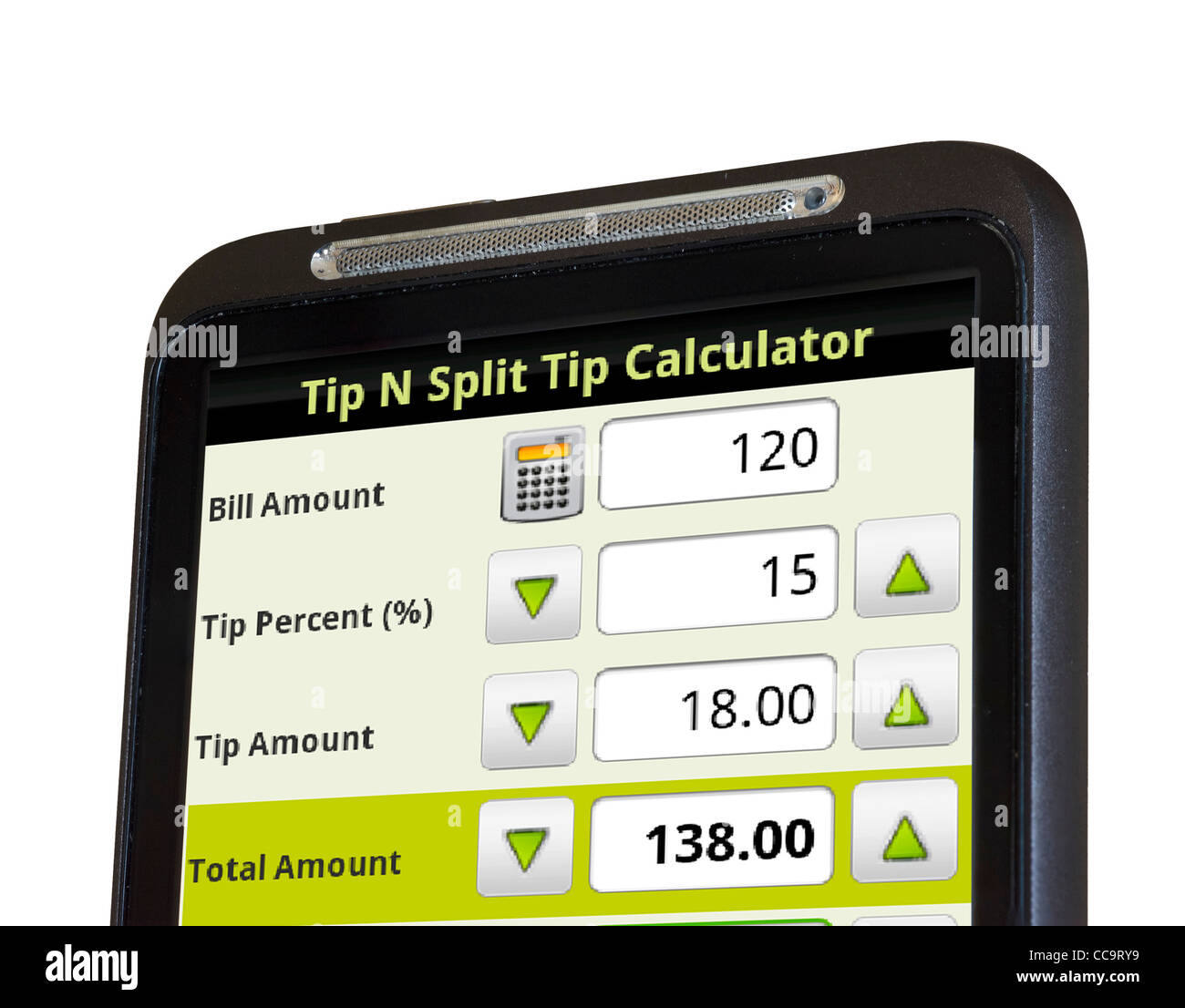 using a tip calculator app on an android htc smartphone stock photo