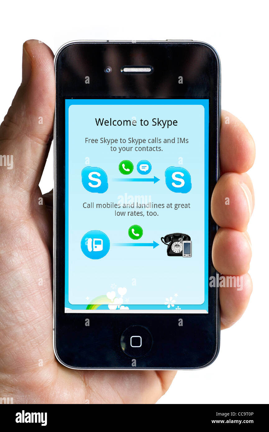 Using Skype internet calling on an Apple iPhone 4 smartphone Stock