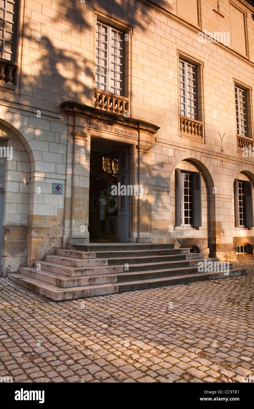 The entrance to the Musee Des Beaux Arts or museum of fine arts in Tours, France. It is also listed as a Monument Stock Photo