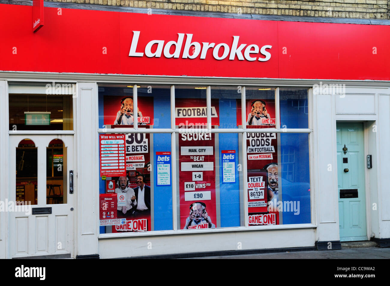 Ladbrokes Betting Shop, Cambridge, England, UK - Stock Image