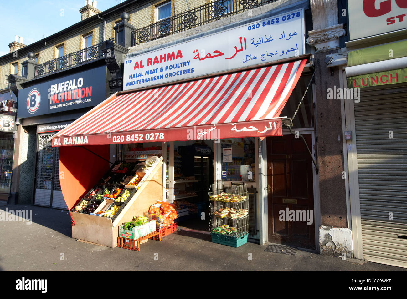 halal meat and poultry butchers and mediterranean grocery store cricklewood north london england uk - Stock Image