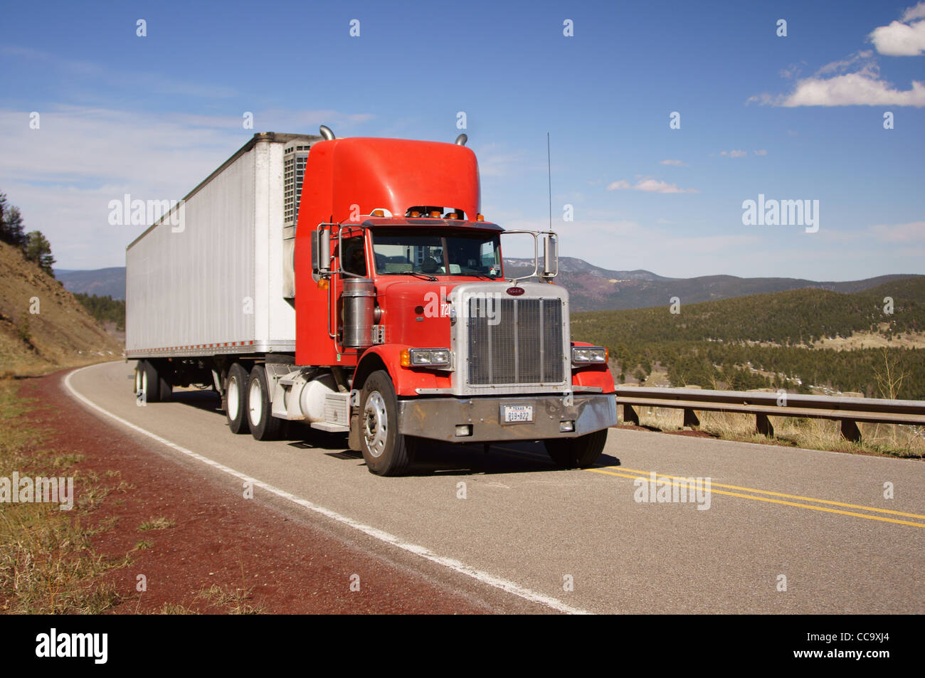 truck highway semi trailer transportation highways hiway road ship vehicles exhibit carriage carrier carry - Stock Image