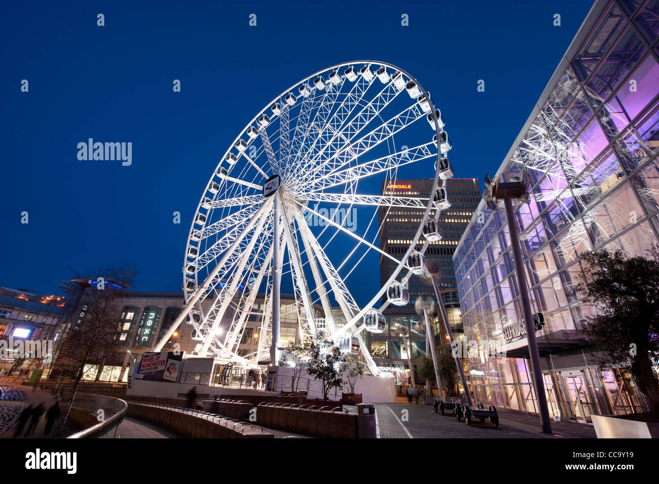 The Wheel of Manchester public ferris wheel in Exchange Square. Stock Photo