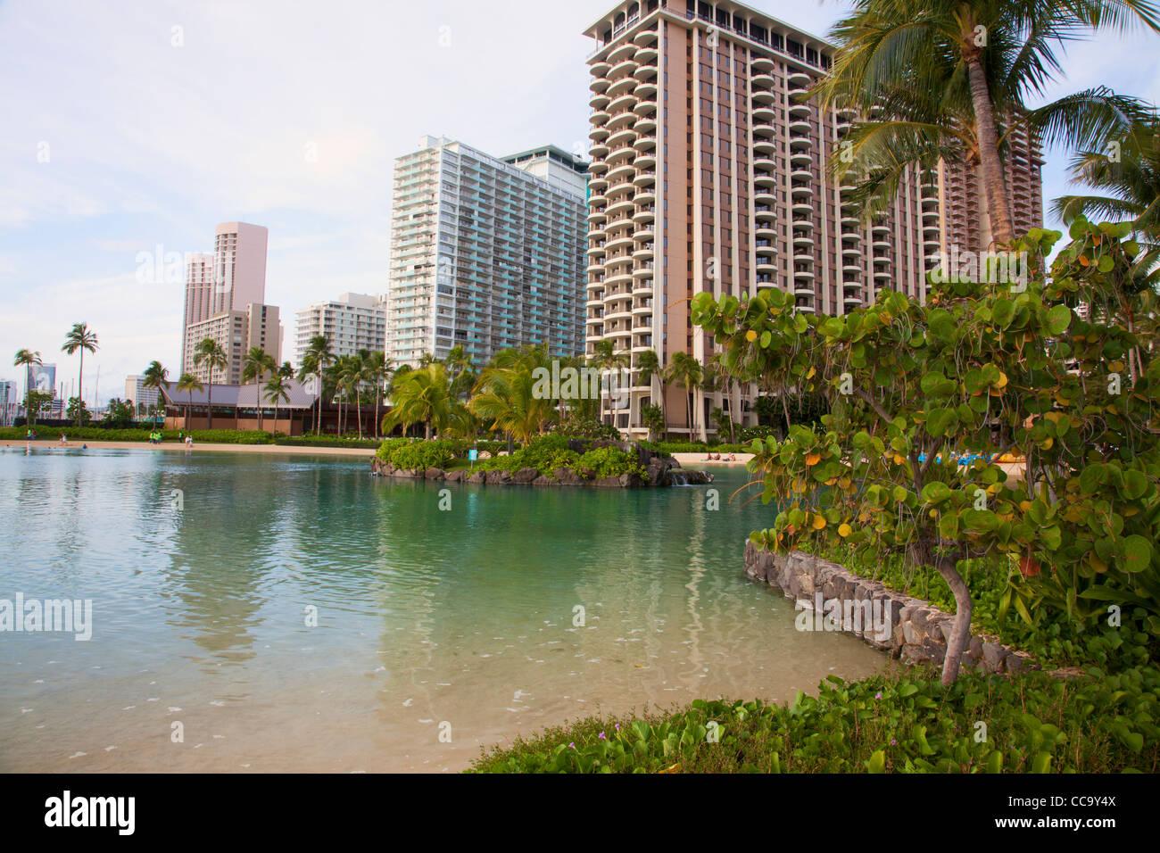 Hilton Hawaiian Village, Waikiki, Honolulu, Hawaii. - Stock Image