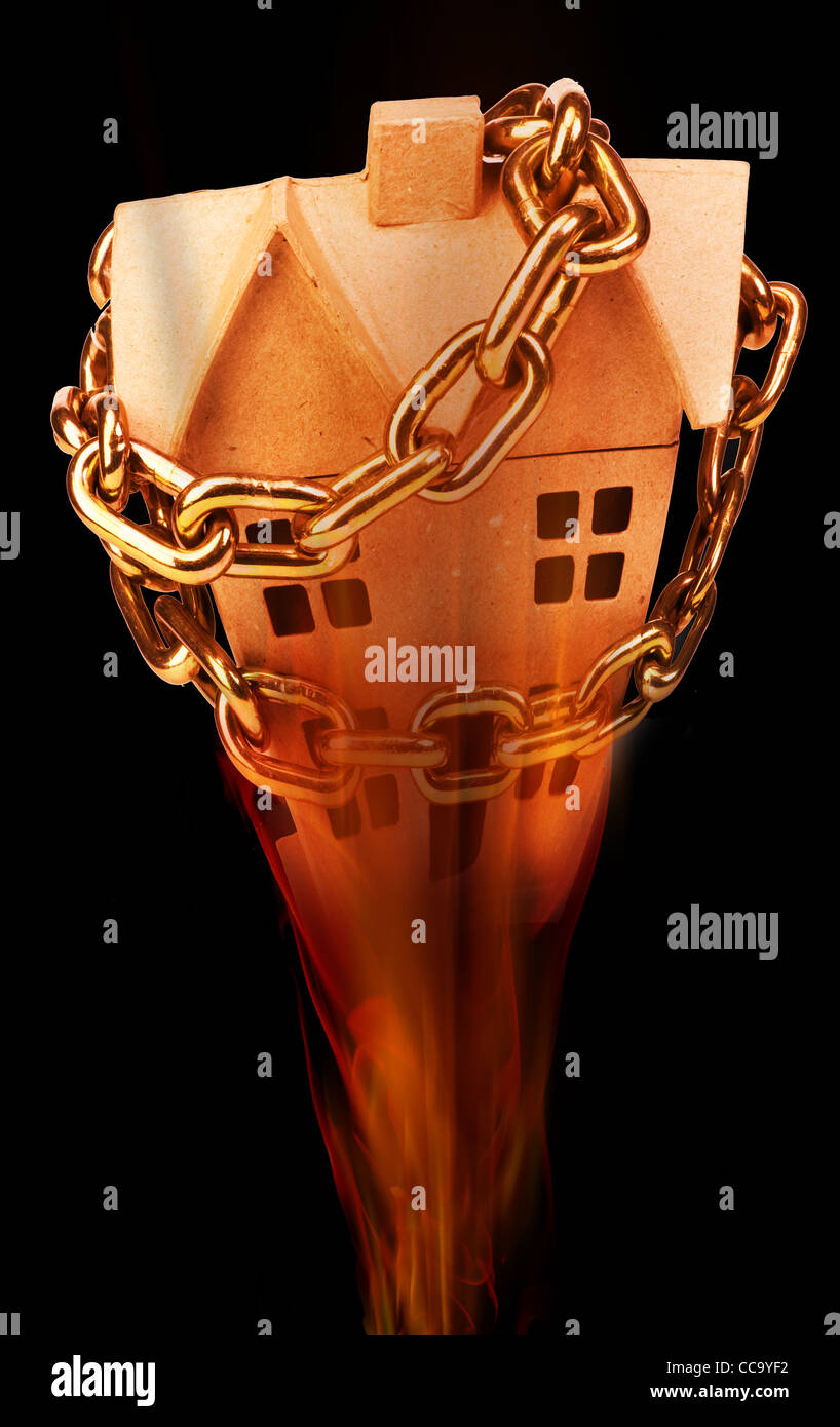 Home investment chained up and burning. - Stock Image