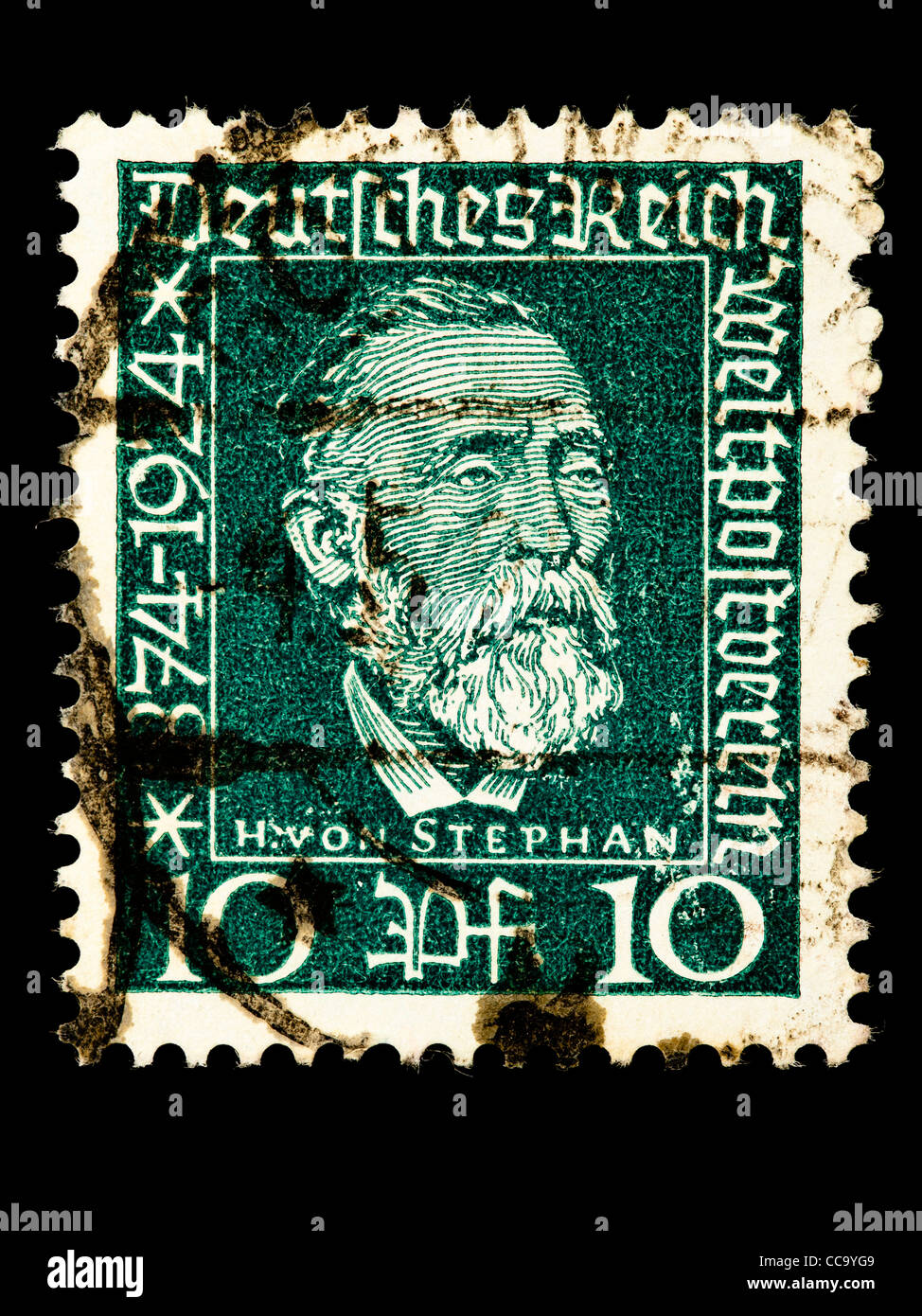 Postage stamp: German Reich, H. v. Stephan, Weltpostverein, 10 Pfennig, 1924, stamped Stock Photo