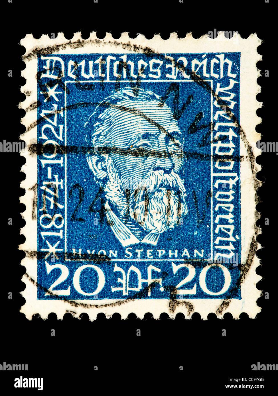 Postage stamp: German Reich, H. v. Stephan, Weltpostverein, 20 Pfennig, 1924, stamped Stock Photo