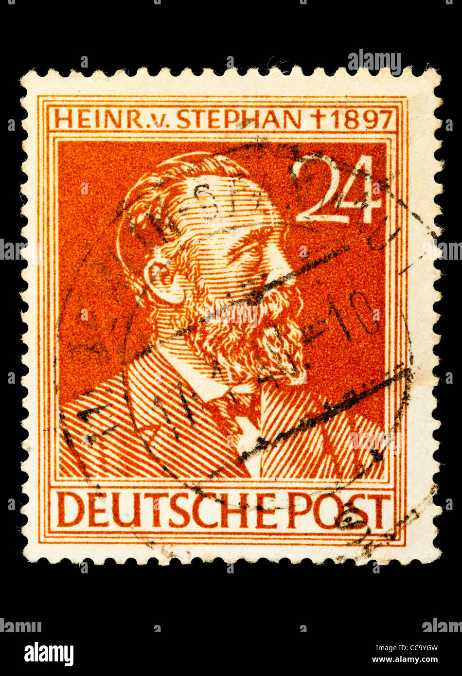 Postage stamp: Deutsche Post, Heinrich v. Stephan, Weltpostverein, 24 Pfennig, 1947, stamped Stock Photo
