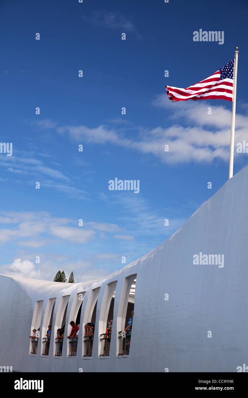 USS Arizona Memorial, Pearl Harbor, Honolulu, Hawaii. Stock Photo