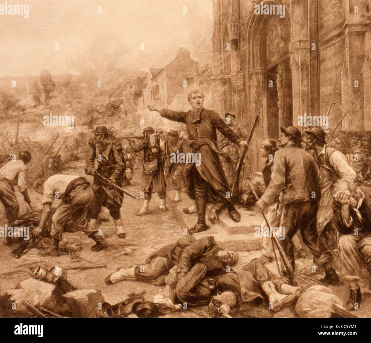 Bazeilles 1870 Franco-Prussian War battle, in front of church, in Bazeilles, France. - Stock Image