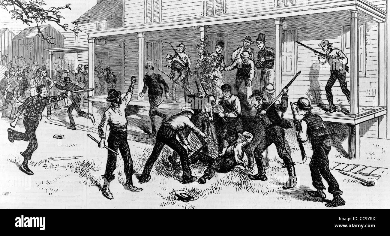 Murder of a Negro at Mrs. Carter's house, Pattenburg, NJ, circa 1872 - Stock Image