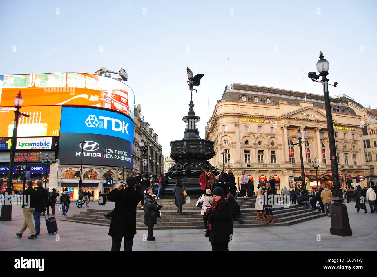 Shaftesbury Memorial Fountain, Piccadilly Circus, West End, City of Westminster, London, England, United Kingdom - Stock Image