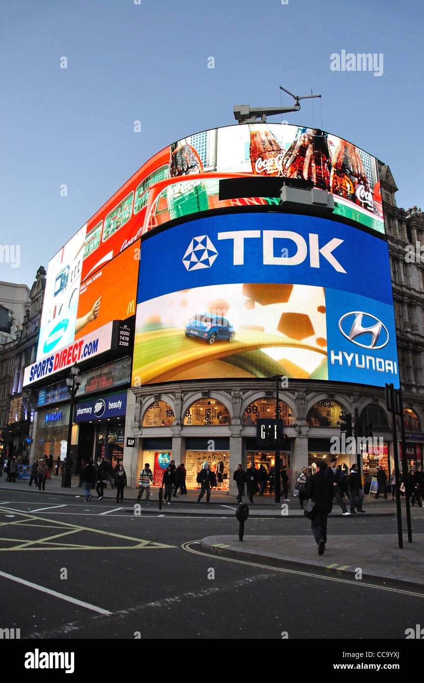 Illuminated advertising signs, Piccadilly Circus, West End, City of Westminster, London, England, United Kingdom - Stock Image