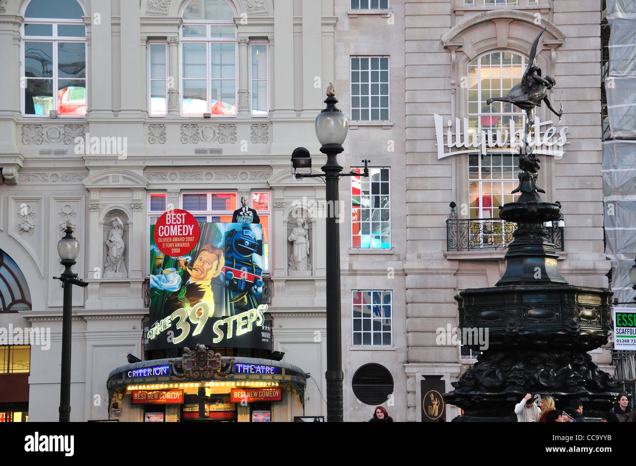 Statue of Eros and Criterion Theatre, Piccadilly Circus, West End, City of Westminster, London, England, United - Stock Image