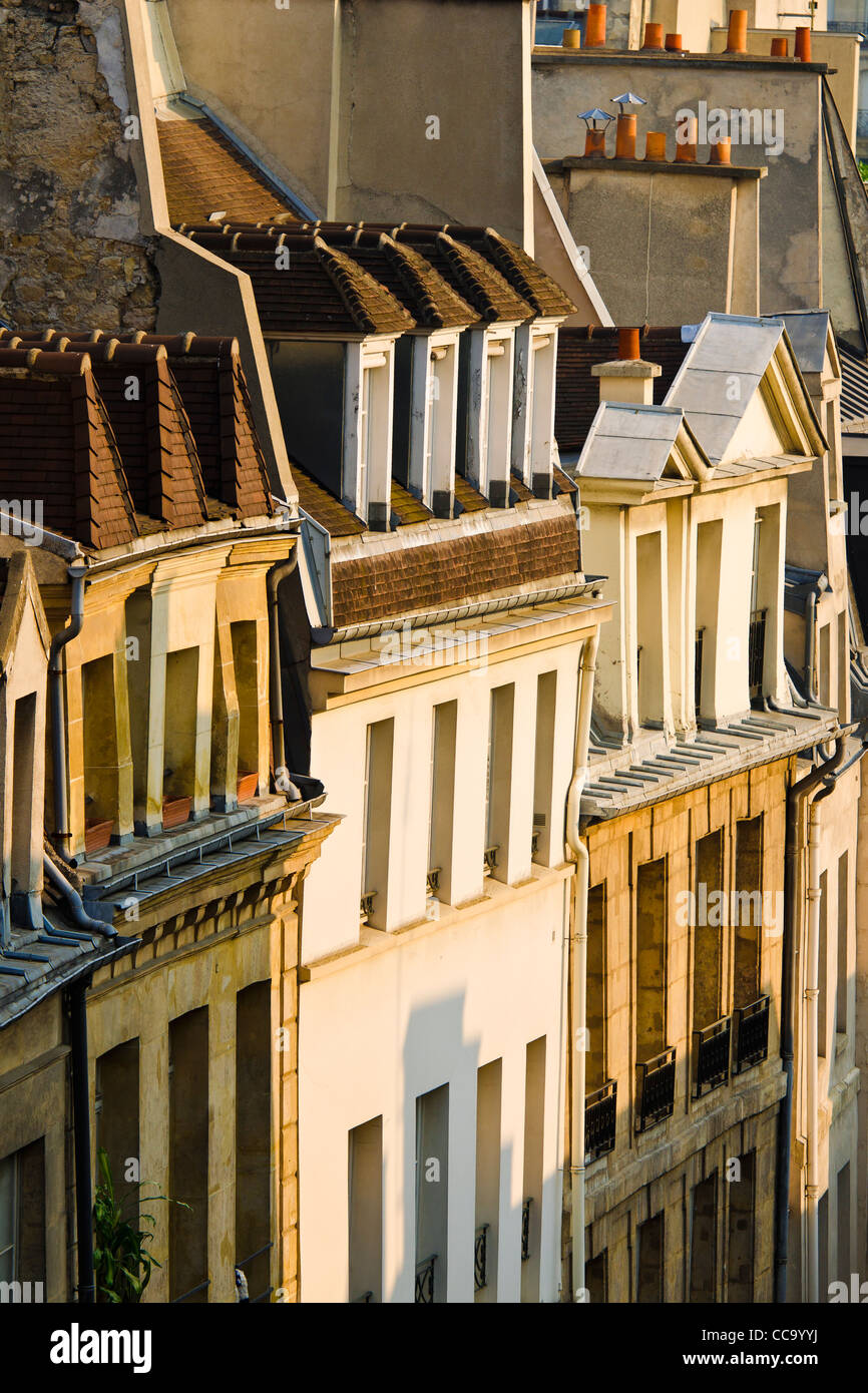 Morning light on houses in the Latin Quarter, Paris, France - Stock Image