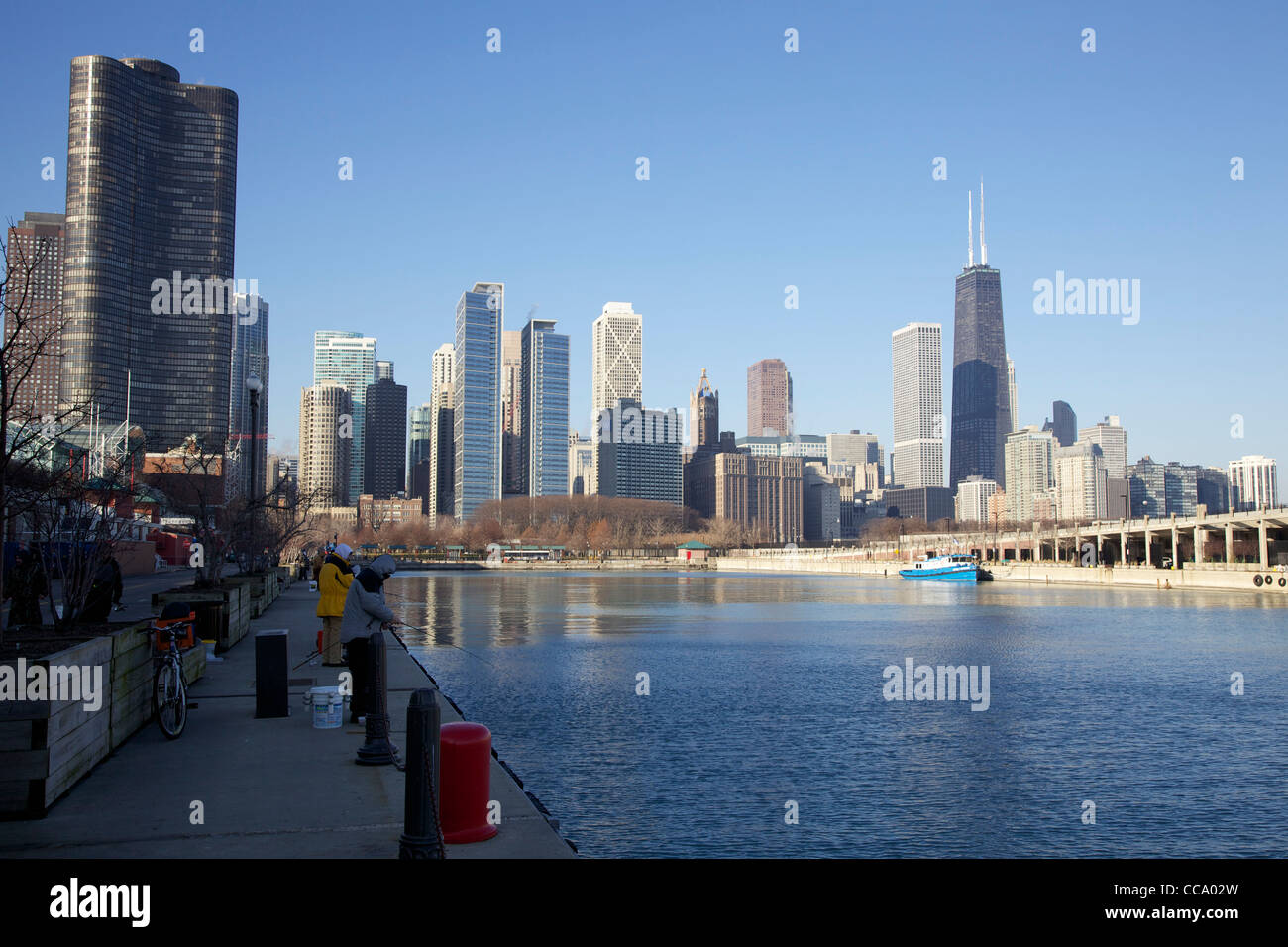 Christmas In Chicago Skyline.Fishing On The North Side Of Navy Pier Chicago Illinois