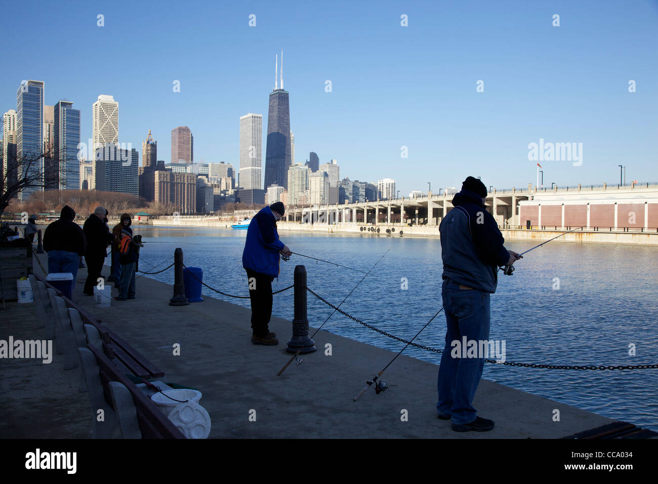 Fishing On The North Side Of Navy Pier Chicago Illinois