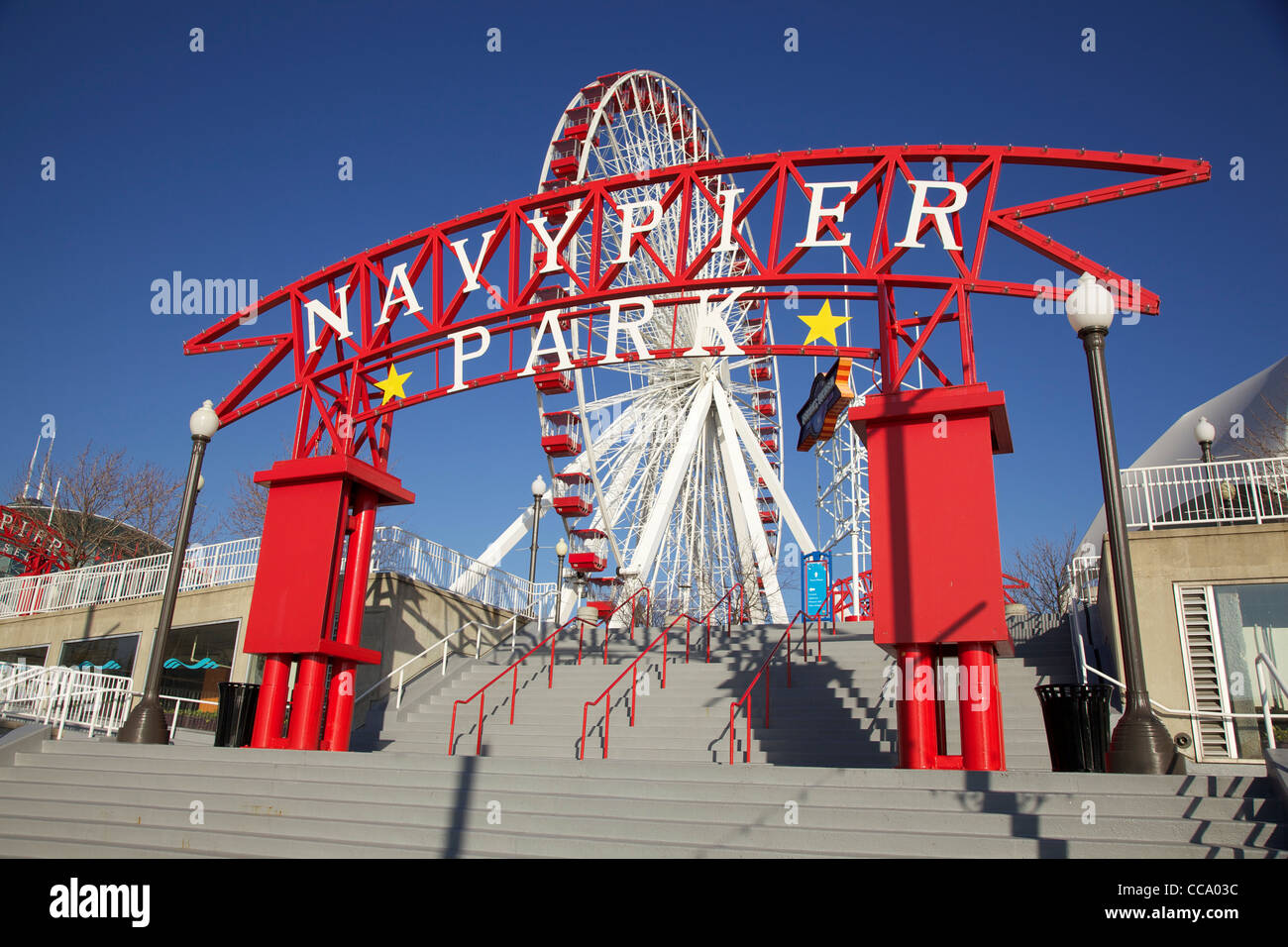 Empty Navy Pier Park Chicago Illinois Christmas Eve 2011
