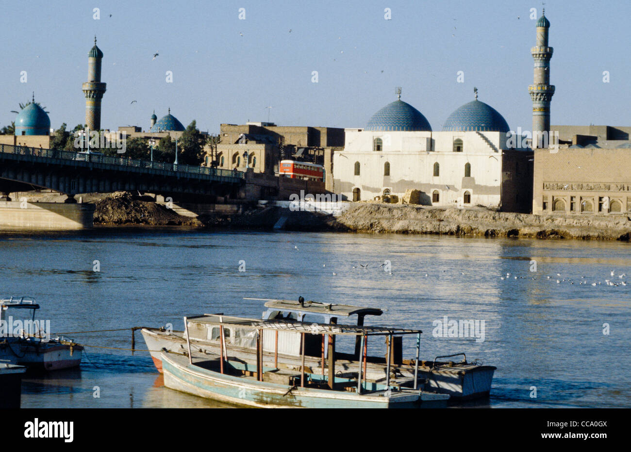 Baghdad, capital city of Iraq, and banks of Tigris River in 1970s - Stock Image