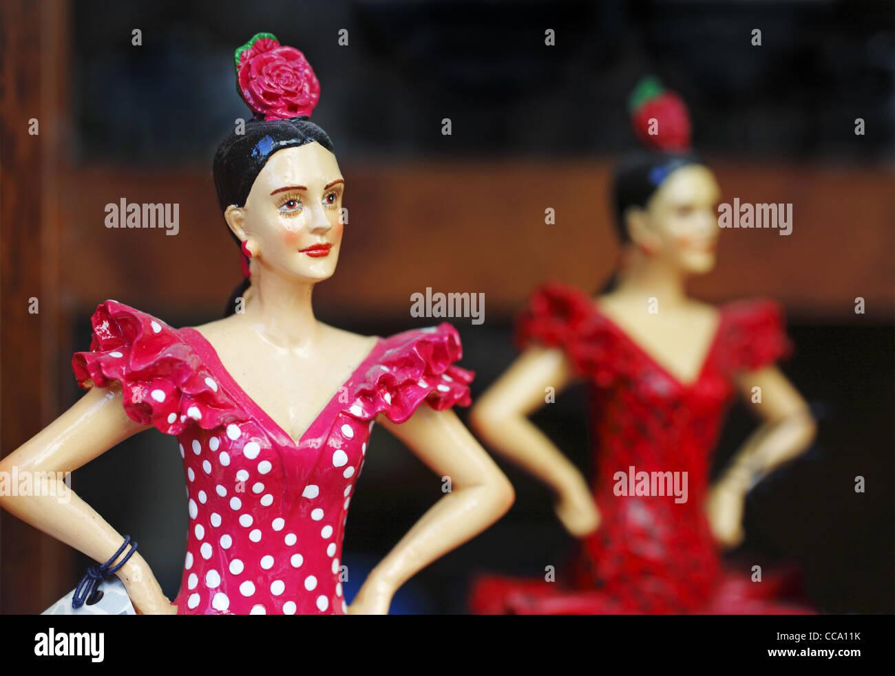 Spanish Flamenco Dancers dolls, Spain - Stock Image