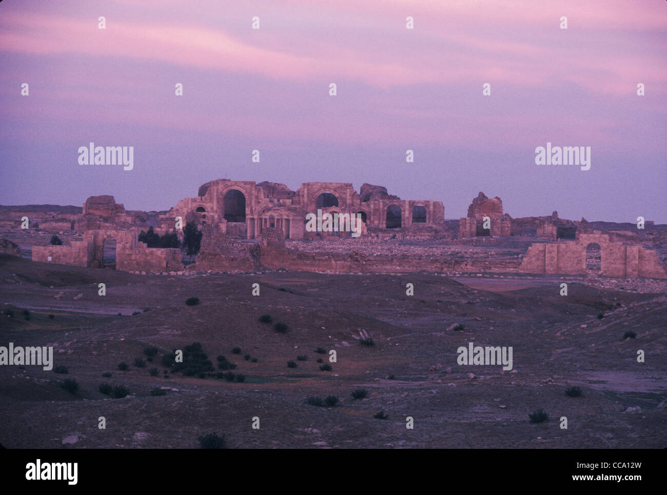 Ruins of the ancient Parthian city of Hatra, founded in 1BC a UNESCO world heritage site in the Iraqi Desert of - Stock Image