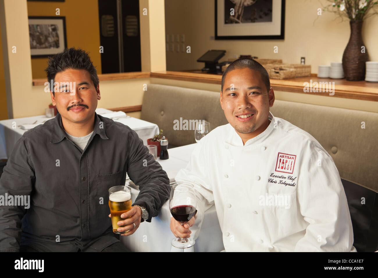 owners Chris and Mike Kobayashi, Artisan Restaurant, Paso Robles, California, United States of America - Stock Image