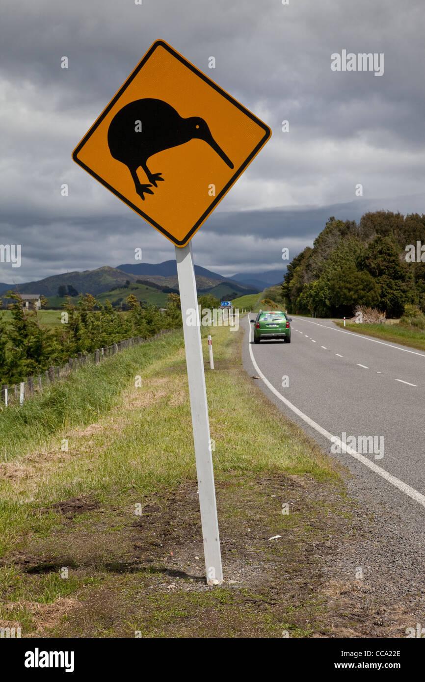 New Zealand. Kiwi Road Sign. - Stock Image