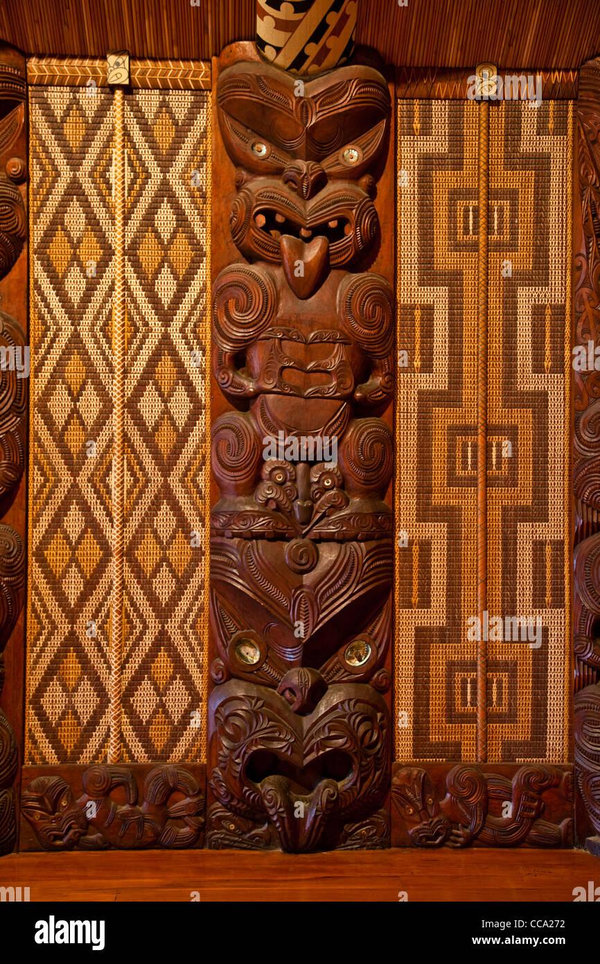 Waitangi Treaty Grounds, New Zealand. Maori Wood Carving inside Meeting House. Stock Photo