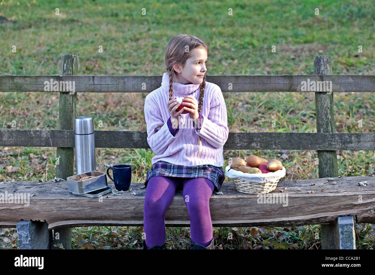 Girl sitting on a wooden bench in a meadow and picnicking - Stock Image
