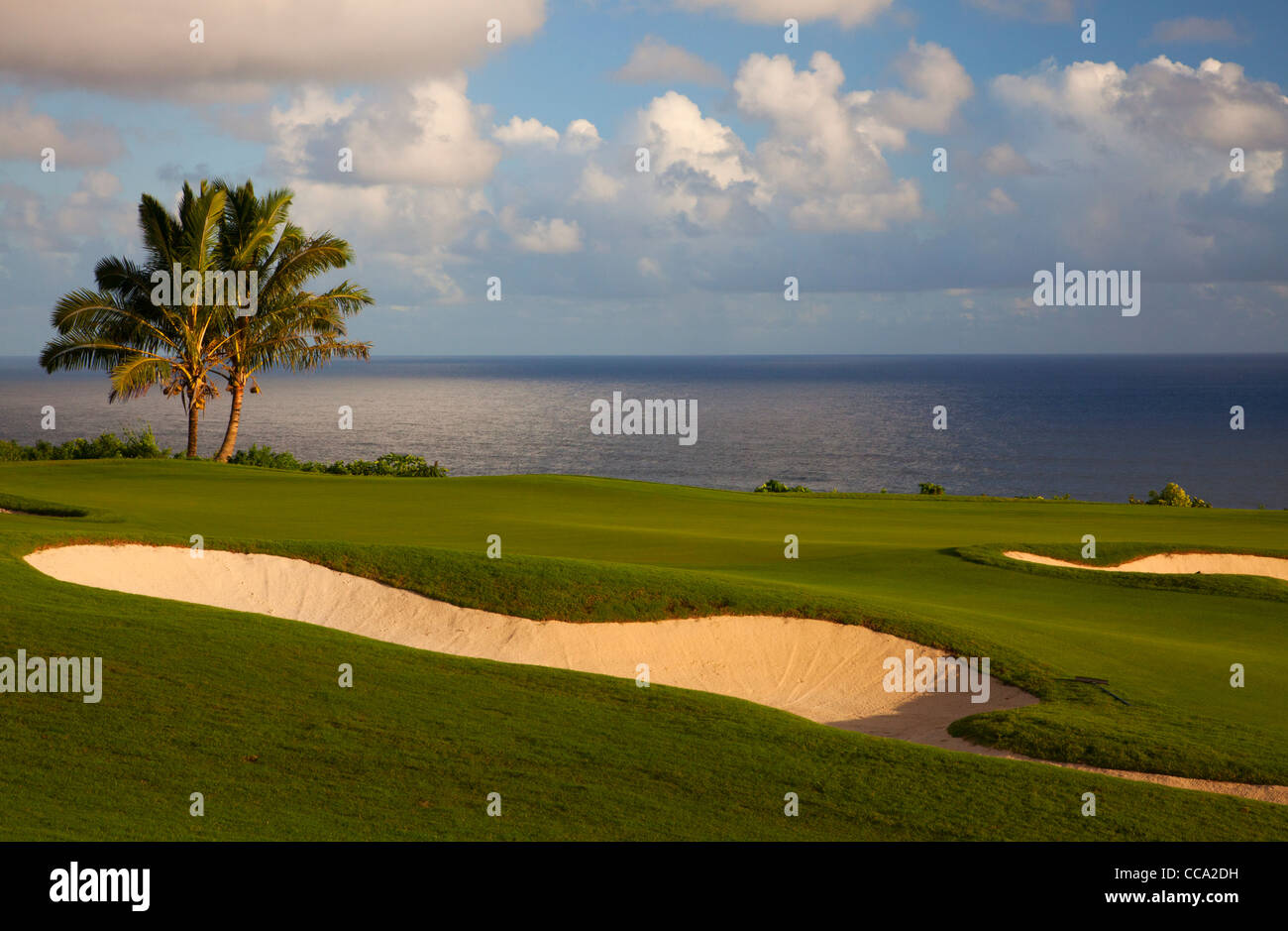 The 14th hole at the Makai Golf Course, Princeville, Kauai, Hawaii. - Stock Image