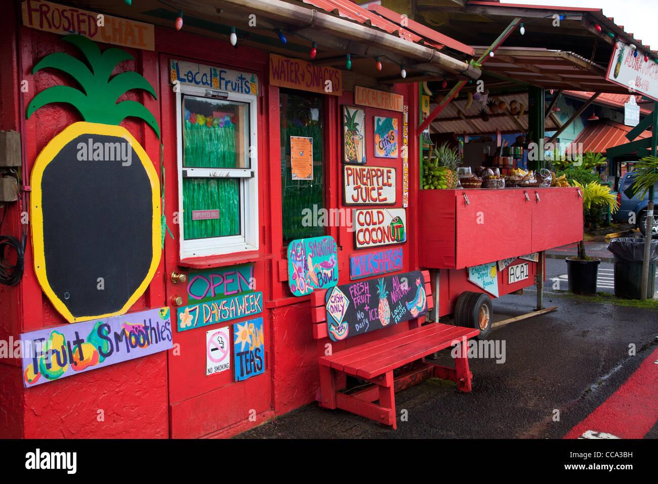 Fruit stand, Hanalei, Kauai, Hawaii. Stock Photo
