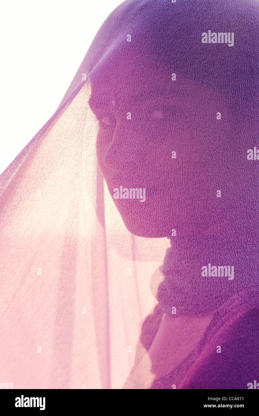 Indian girl wearing pink veil. Andhra Pradesh, India - Stock Image