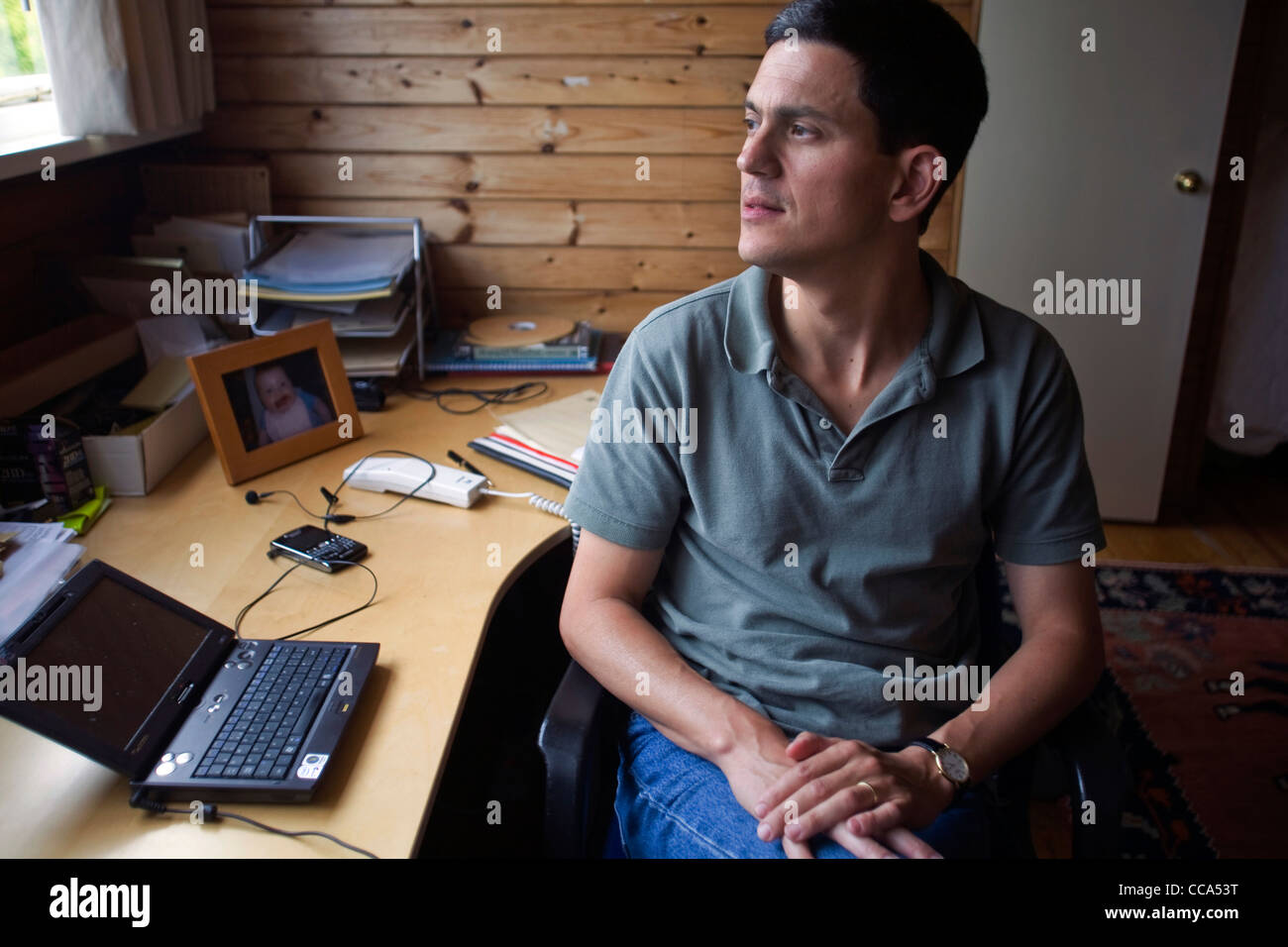 David Miliband, former Foreign Secretary and Member of Parliament for South Shields, Tyne and Wear at home in London - Stock Image