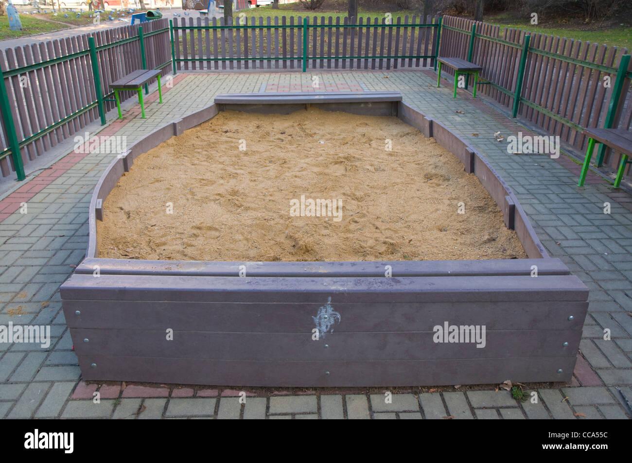 Sandbox childrens playground in winter Zizkov district Prague Czech Republic Europe - Stock Image