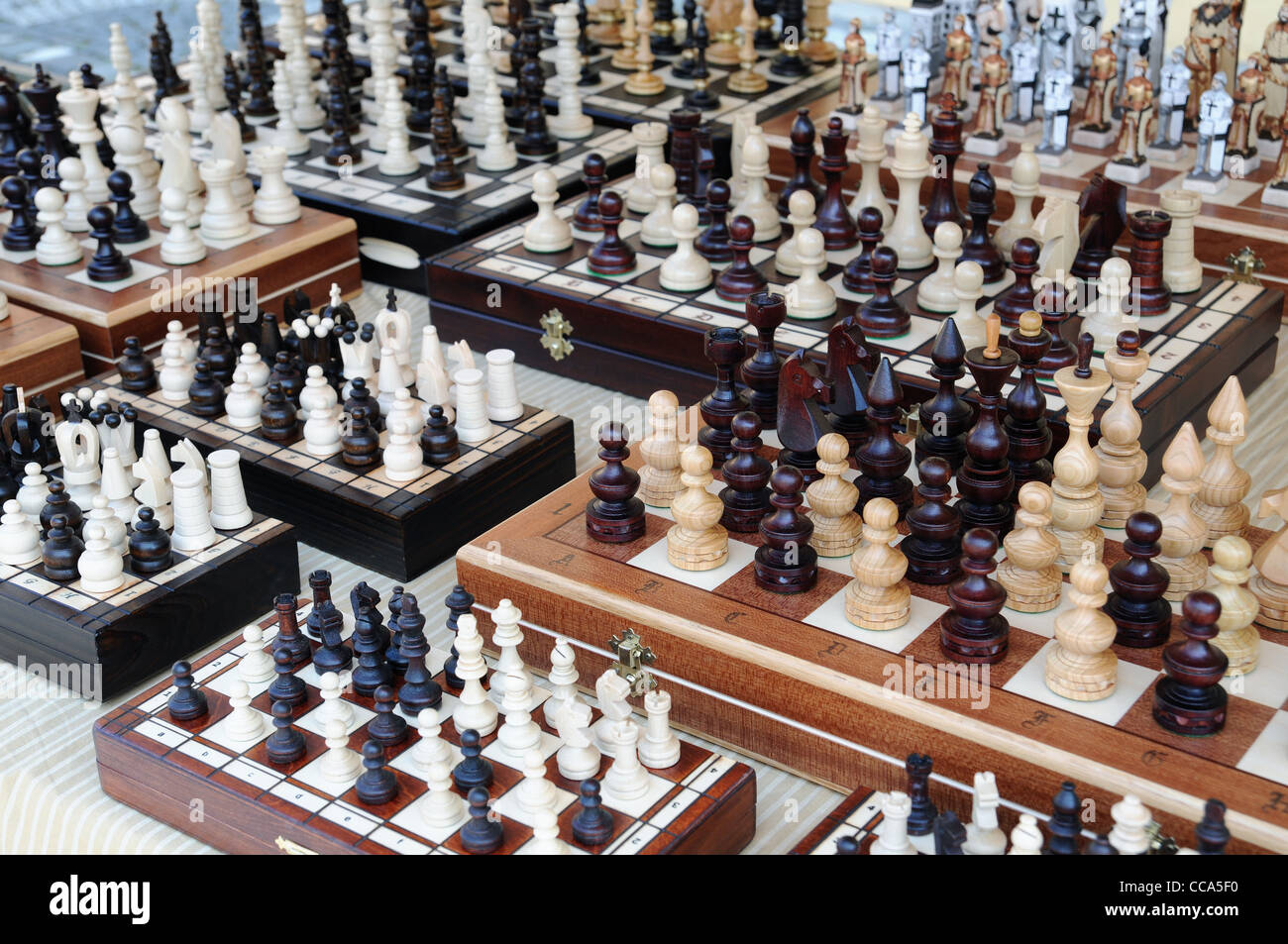 several chessboards for sale - Stock Image