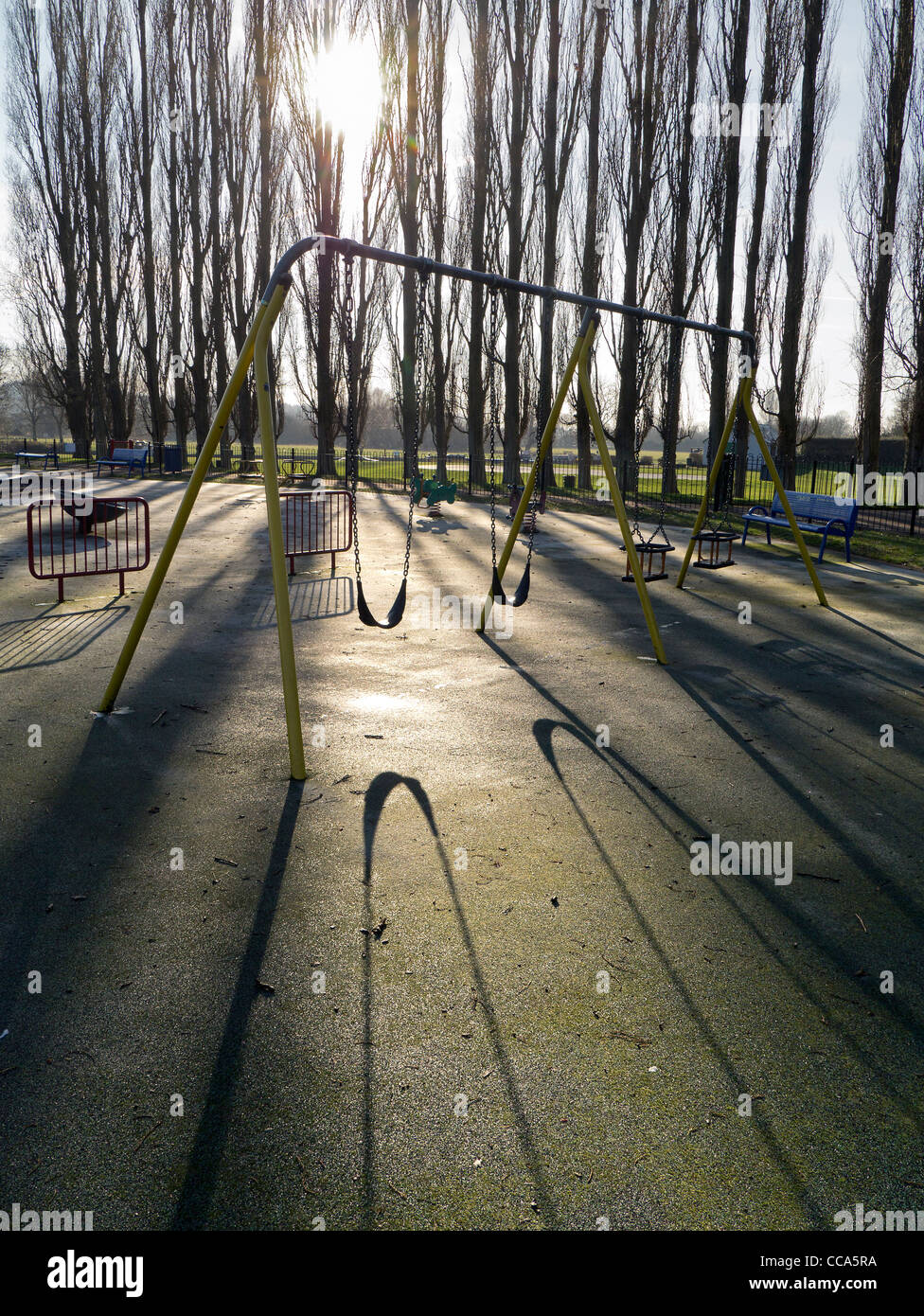 Deserted playground in Abbey Fields, Abingdon - winter morning 9 - Stock Image